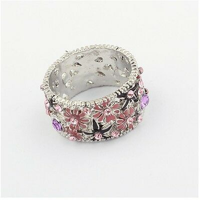 New Fashion Delicate Full Rhinestone Flowers Hollow Out Silver Tone Ring Size 7