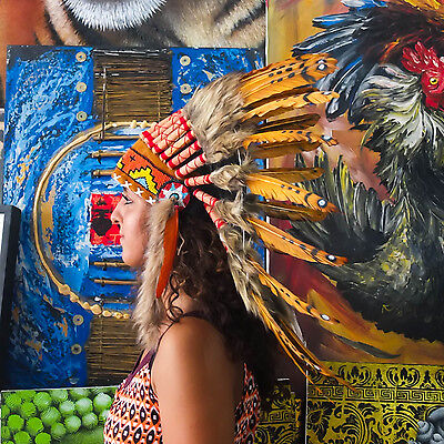 Indian Headdress/ Native American Chief Costume - 65cm Real Feather War Bonnet