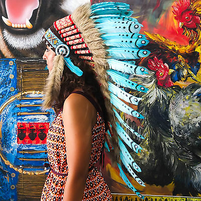 Indian Headdress/ Native American Chief Costume - 90cm Real Feather War Bonnet