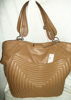 Nwt $70 Worthington Lg Light Brown Fx Leather Shoulder Tote Hobo Handbag