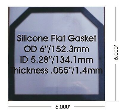 """High Temp Flat Silicone Rubber Gasket for HHO dry cell 1.44 mm or 0.055"""" thick"""