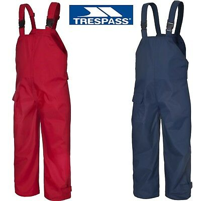 TRESPASS KIDS WATERPROOF DUNGAREES RAIN OVER TROUSERS BOYS OR GIRLS 12m to12yrs
