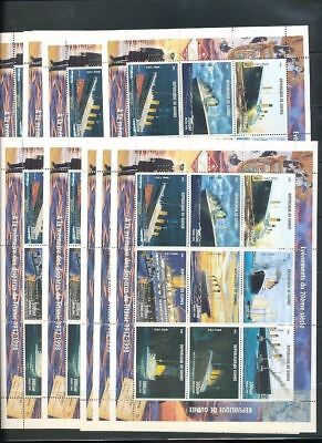 Republique Guinee 1998 TITANIC SHIP White Star 10X PERF MNH SHEETS of 9 [D332]