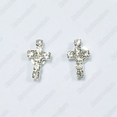 Crystal Silver Cross Magnet Stud Earrings - Magnetic Mens Womens Fashion - NEW