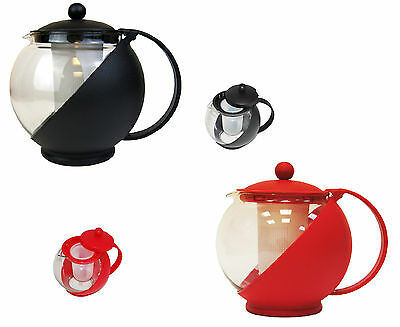 Black or Red Glass Infusion Contemporary Kitchen Teapot with Infuser Herbal New