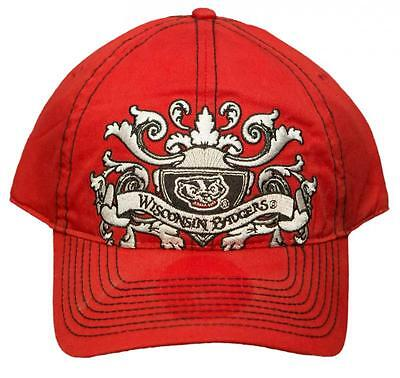 new concept 6c0b5 8404e University of Wisconsin Badgers Adjustable Buckle Back Hat Embroidered Cap