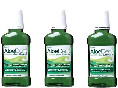 3 x 250ml Aloe Dent Mint Mouthwash ( Aloe Vera & Tea Tree COOL MINTY FRESHNESS )