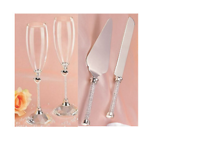 Wedding Bridal Engagement Toasting Glasses/Love Heart Vines Silver Flutes