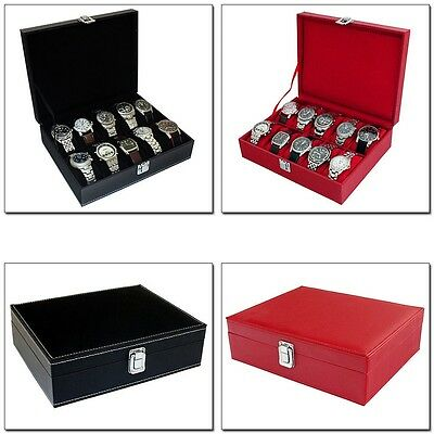 Mens Black Or Red Faux Leather 10 Compartment Watch Storage Box Organiser Case