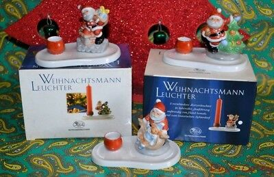 Stunning Hutschenreuther Christmas Candle Holder Boxed Santa Claus 3 Designs