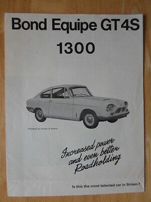 BOND Equipe GT 4S 1300 orig 1967 UK Market sales brochure - Triumph Reliant