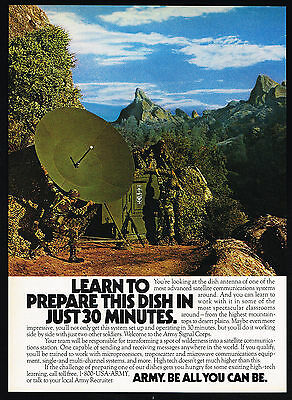 1987 US Army Soldiers Dish Antenna Communications Recruiting Print Ad