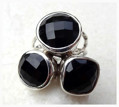 925 Sterling Silver CHECKER CUT BLACK ONYX Semi Precious GEMSTONE RING SIZE N1/2
