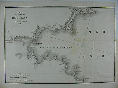 Original Engraved Map of the Gulf of Burgas in Bulgaria, 1807