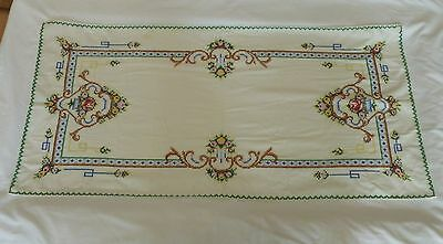 Vintage Handmade Cross Stitch Table Runner And Small Round Cross Stitch Piece