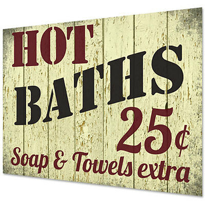 NEW Shabby Chic Retro Bathroom Hot Baths Towels Poster Vintage Wall Sign Loo