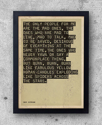 """Jack Kerouac - """"On The Road"""" Quote poster - beat generation, big sur, jazz"""