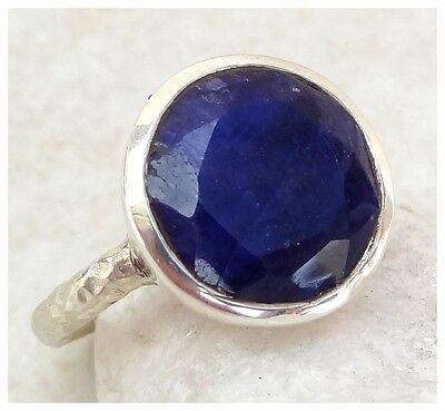 925 Sterling Silver INDIAN SAPPHIRE SEMI PRECIOUS GEMSTONE RING SIZE N ~ 6 3/4
