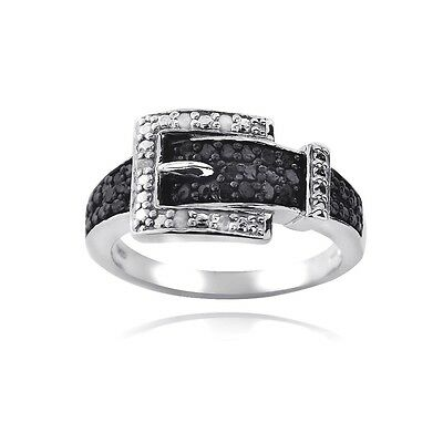 925 Silver 1/4ct Treated Black & Natural White Diamond Belt Buckle Ring