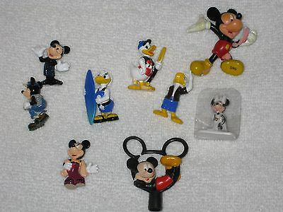 Lot Of 9 Small Disney Mickey And Minnie Mouse And Donald Ducks Figurine Toppers