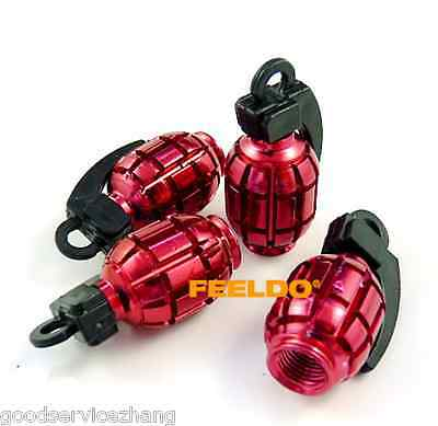 4 Pcs Red Grenade Bomb Exterior Wheel Tyre Tire Valve Stems Air Dust Cover Caps