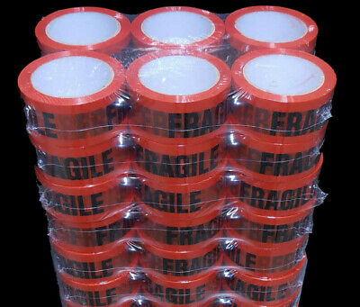 48 Rolls FRAGILE Sticky Packing Tape 75 Meter x48mm Black on Red