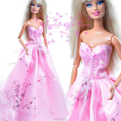 New HOT Handmade Clothe Fashion Party Outfit Pink Dress for Barbie Doll Xmasgift