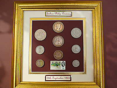 PERSONALISED  FRAMED 1964 COIN SET 52nd BIRTHDAY / ANNIVERSARY GIFT IN 2016