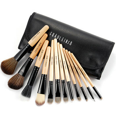 Fraulein 38 12 Legnosi Pennelli Cosmetici Make-up Trucco Set + Custodia nera