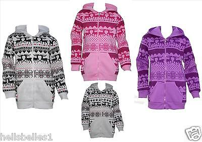 Girl's Glittery Reindeer Patterned Longer Length Hoody Zipper Top 3 - 14 Yrs