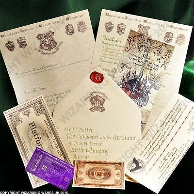 Harry Potter PERSONALISED Hogwarts Acceptance Letter, + Marauders Map + MORE
