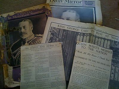 5 x NEWSPAPERS & EXTRACTS COMMEMORATING DEATH AND FUNERAL GEORGE V 1936 - POOR