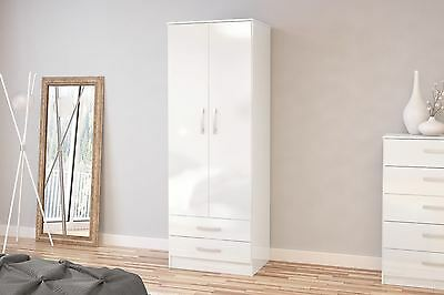 Birlea Lynx High Gloss All White 2 door 2 drawer bedroom wardrobe new