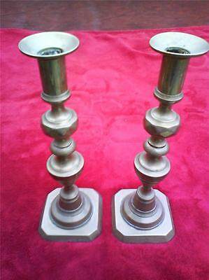 Pair Of Large Antique Attractive Solid Brass Candle Sticks Candlesticks