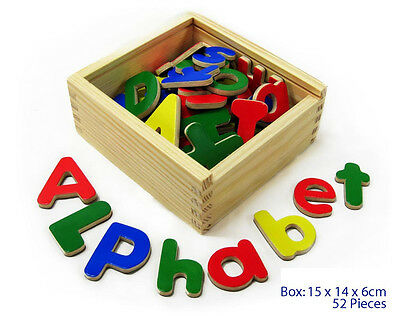 NEW Wooden Magnetic Alphabet Letters Upper Lower Case 52pc