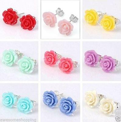 Candy Colors Resin Crystal Rose Flower Pair Ear Stud Earring Fashion Jewerly