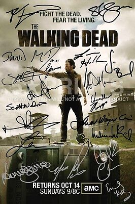 """THE WALKING DEAD POSTER PHOTO SIGNED PP by 19 PRISON NORMAN REEDUS 12x8"""" GIFT"""