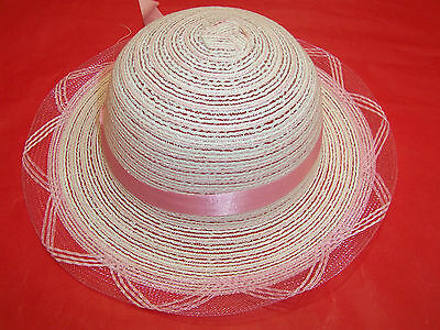 Brand New Girls Summer Ribbon Straw Hat - White, Yellow Or Pink