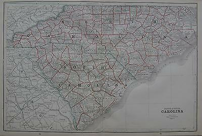 1892 North & South Carolina Large 2-page Map^ .121 years old!!