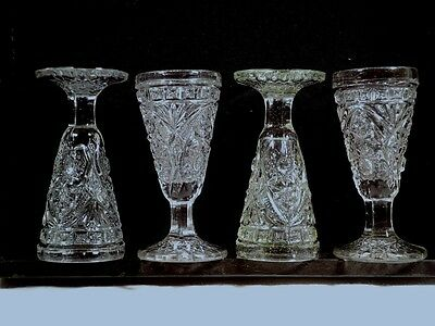 "MINIATURE Footed Tumblers (3 1/4"" Tall) Pressed Glass/Vintage EAPG / 1890-1910?"
