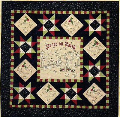 CLEARANCE  - Peace on Earth - stitchery and pieced Christmas wall quilt PATTERN