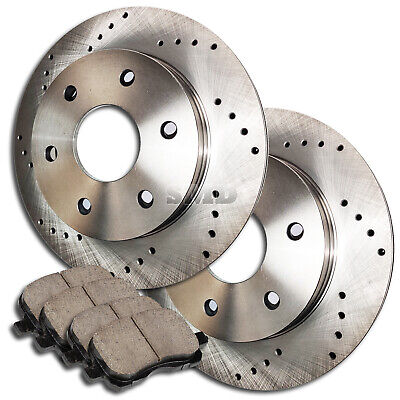 A0344 FRONT SET PERFORMANCE Cross DRILLED BRAKE ROTORS AND CERAMIC PADS 4WD 4X4
