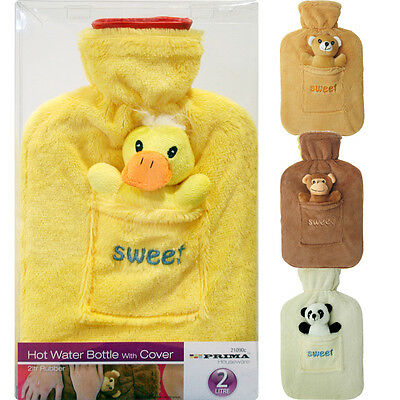 Hot Water Bottle With Cuddly Cover Soft Toy Monkey Duck Teddy Panda 2Lt Rubber