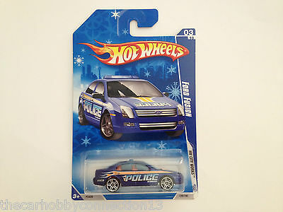 Hot Wheels HTF 2009 City Works Ford Fusion SEL Blue Police Car Diecast 1:64