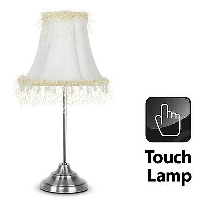 Tall Brushed Chrome Touch Bedside Table Light Lamp - Beaded / Tassled Lampshade