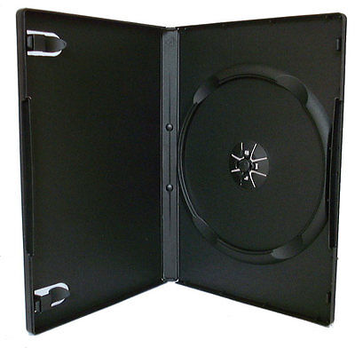 100 x Single DVD Case Cases 14mm Spine Standard Black Clear Front Cover Sleeve