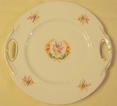 1800S ANTIQUE VTG FLORAL HANDLED SPARROW BIRD PLATE WITH GOLD TRIM GREAT DESIGN