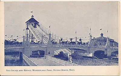 Chutes and Bridge Wonderland Park Revere Beach MA Postcard Amusement Park