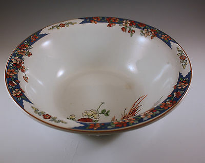 ANTIQUE WOOD AND SONS IRONSTONE BIRD OF PARADISE ROUND SERVING BOWL