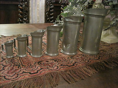 6 Vintage European Pewter Measuring Cups Hallmarked Quality Old Antique Pieces